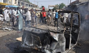 Scene of destruction after a Boko Haram attack in neighbouring Nigeria