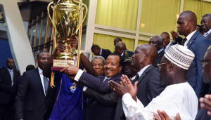 President Paul Biya hands over Cup of Cameroon to UMS of Loum