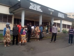 Protesting Wokaka villagers in front of Buea DO's office