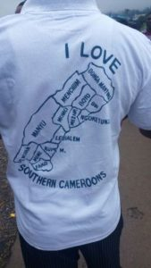 Activist spotting T-shirt with Southern Cameroons map