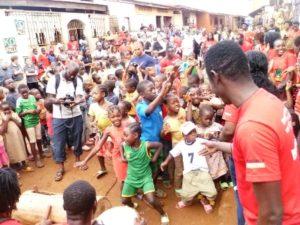Children displaying at anti-malaria sensitisation campaign
