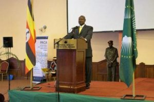 President Museveni addressing conference particiants